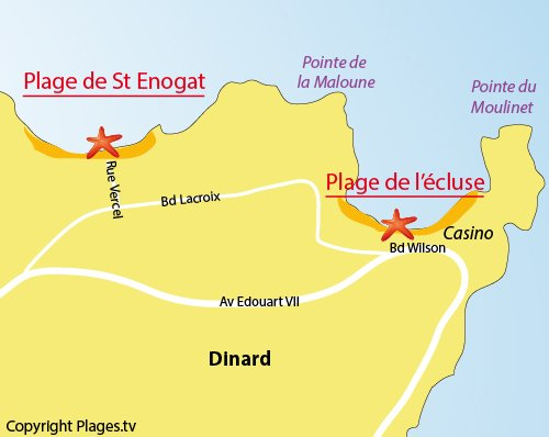 Map of the Saint Enogat Beach in Dinard