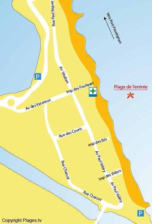 Map of Entrée Beach in Frontignan
