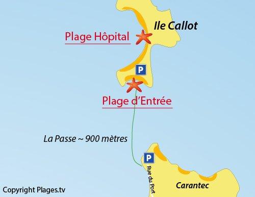 Carte de la plage de l'entrée de l'ile de Callot de Carantec