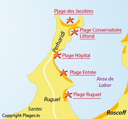 Map of Perharidi beach - Entree