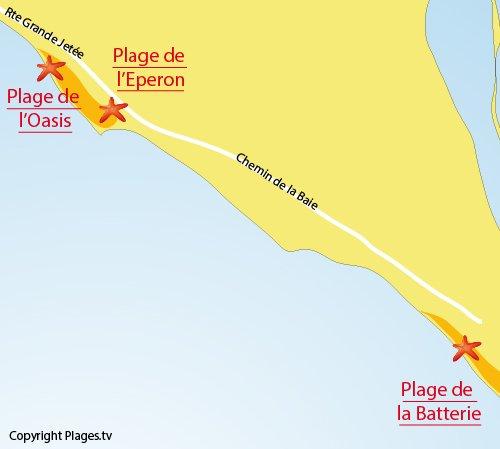 Carte de la plage de l'Eperon à la Pointe de l'Aiguillon