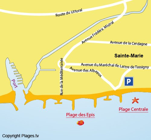 Mappa della Spiaggia Epis a Ste Marie - Francia