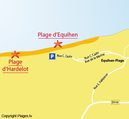 Map of the Central beach of Equihen