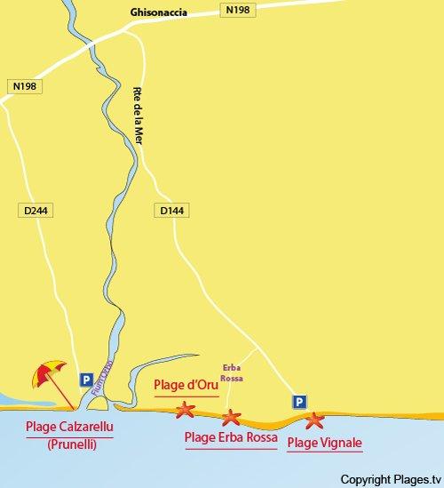 Carte de la plage Erba Rossa à Ghisonaccia