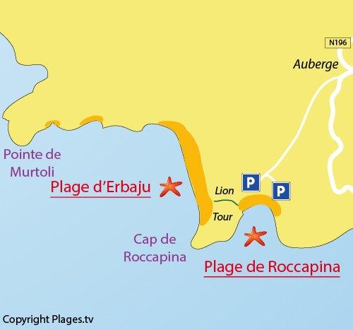 Plan de la plage d'Erbaju en Corse