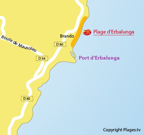 Map of Erbalunga beach in Corsica - Brando