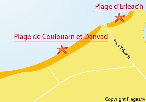 Carte de la plage d'Erleac'h à Saint Pabu