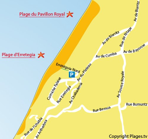 Map of Erretegia Beach in Bidart