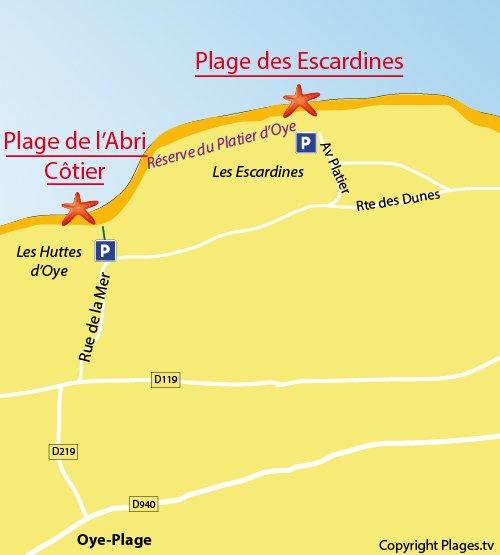Plan de la plage des Escardines à Oye-Plage