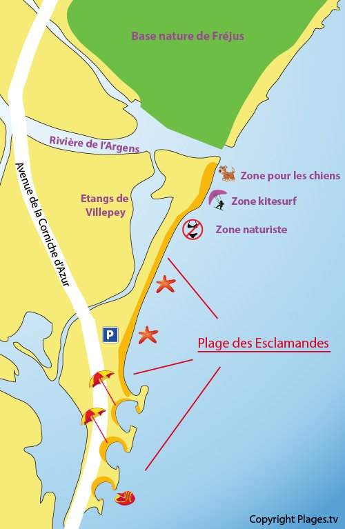 Map of the Esclamandes Beach in Saint Aygulf