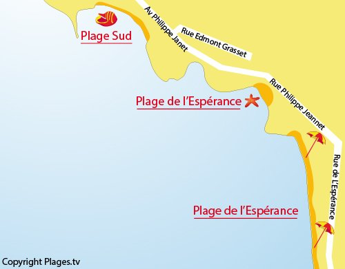 Map of Esperance Beach in Fouras
