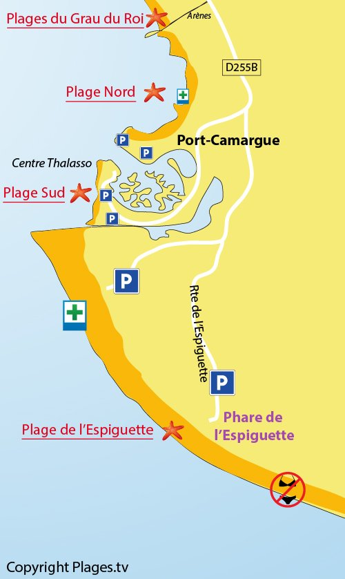 Map of the Espiguette beach in Port Camargue