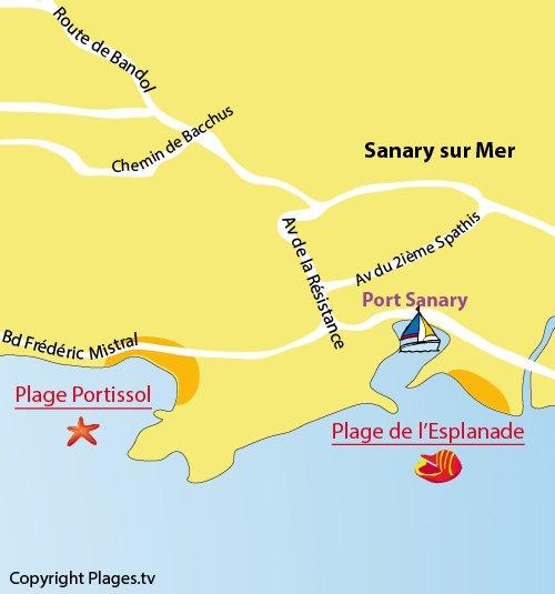 Carte de la plage de l'Esplanade de Sanary sur Mer