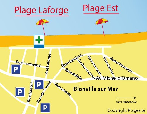 Map of East Beach in Blonville sur Mer