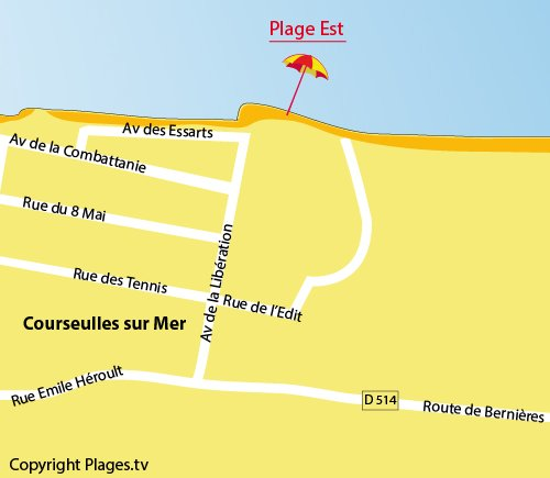 Map of East Beach in Courseulles in France