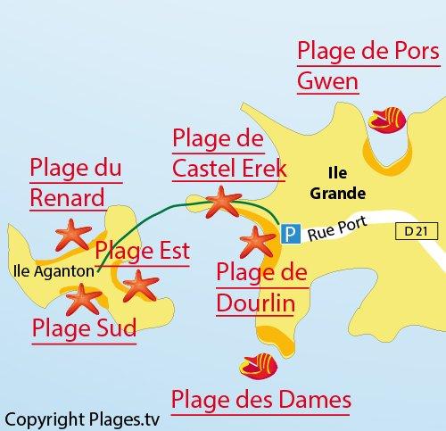 Carte de la plage Est sur l'ile d'Aganton