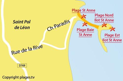 Carte de la plage Est de St Pol de Léon
