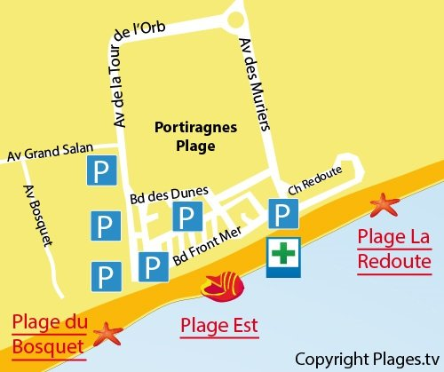 Map of East Beach in Portiragnes in France