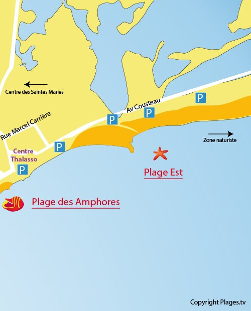 Map of the Eastern beach of Saintes Maries de la Mer