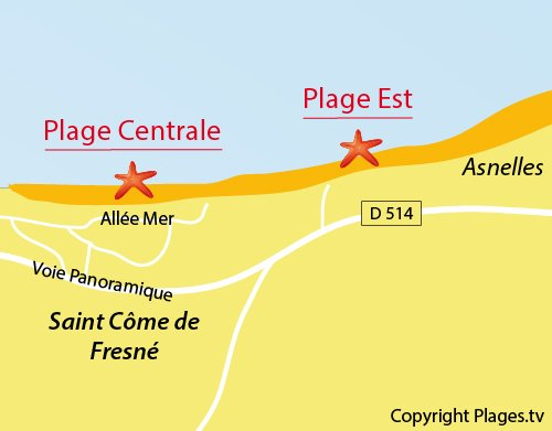 Map of East Beach in St Côme de Fresné