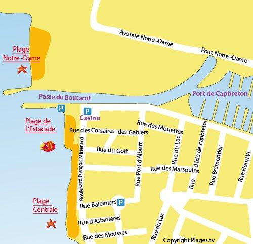 Carte de la plage de l'Estacade à Capbreton