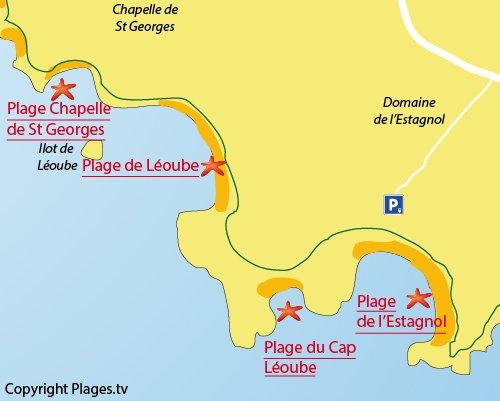 Carte de la plage de l'Estagnol à Bormes les Mimosas