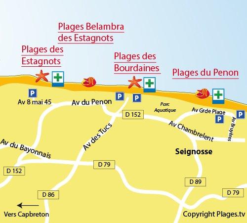 Plan de la plage des Estagnots à Seignosse dans les Landes