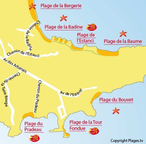 Map of Estanci Beach in Hyères