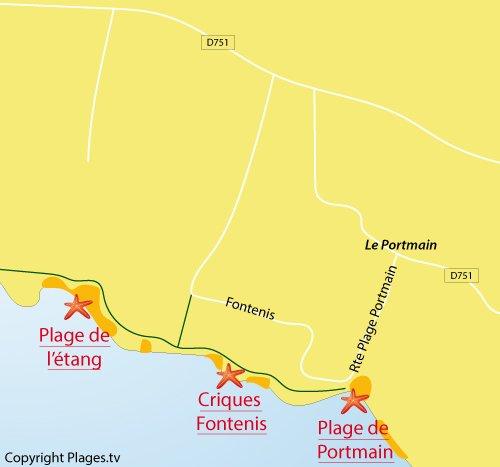 Carte de la plage de l'étang à Pornic