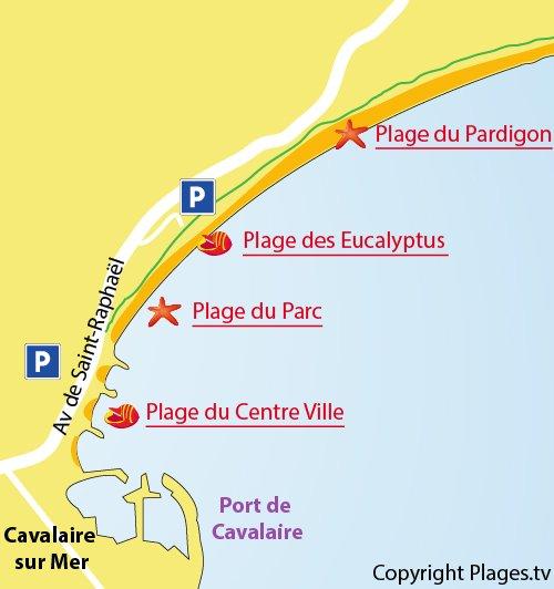 Carte de la plage des Eucalyptus de Cavalaire sur Mer