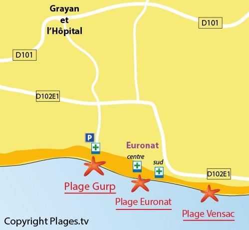 Plan de la plage Euronat en Gironde (Grayan l'Hôpital)