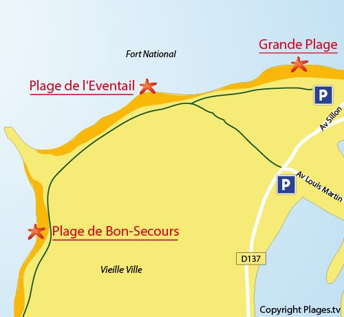 Map of the Eventail Beach in Saint Malo