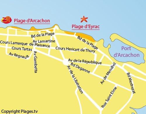 Plan de la plage d'Eyrac à Arcachon
