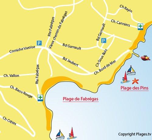 Map of Fabregas beach in La Seyne sur Mer