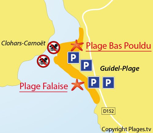 Map of Falaise Beach in Guidel
