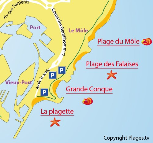 Map of the Falaises Beach in Cape d'Agde