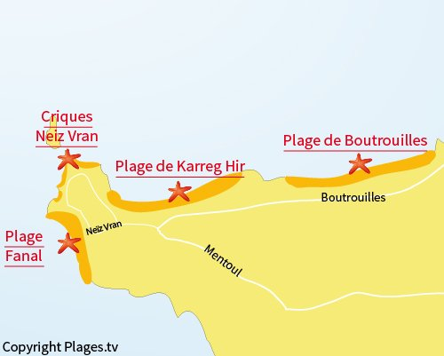 Carte de la plage du Fanal à Kerlouan