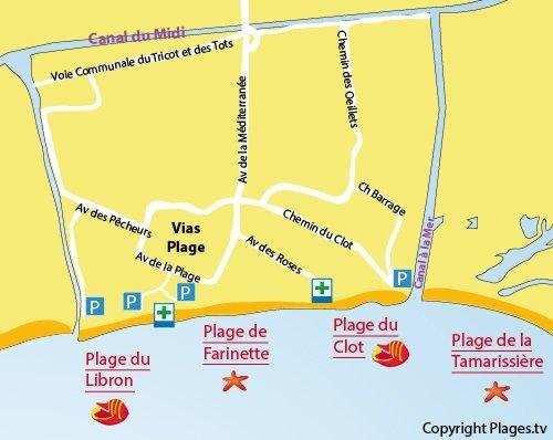 Mappa della Spiaggia della Farinette a Vias