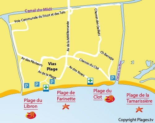 Plan de la plage de Farinette à Vias
