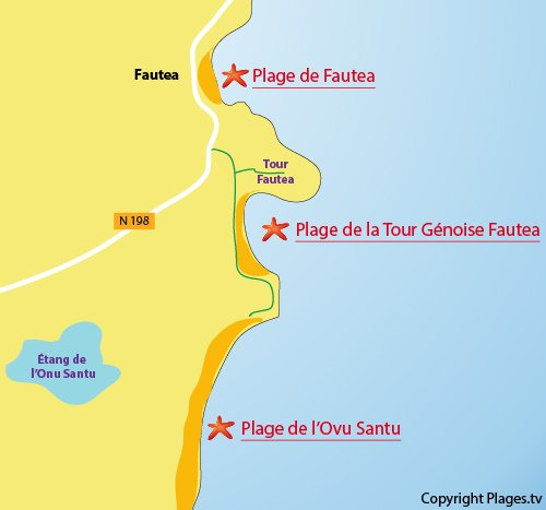 Map of Fautea Beach in Sainte Lucie de Porto Vecchio