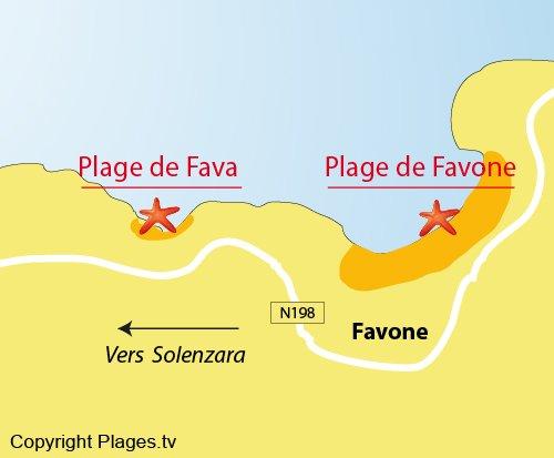 Carte de la plage de Fava - Solenzara