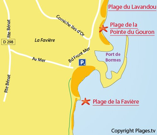 Map of the Faviere Beach in Bormes les Mimosas