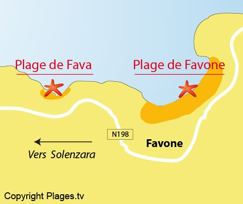 Map of Favone Beach in Corsica