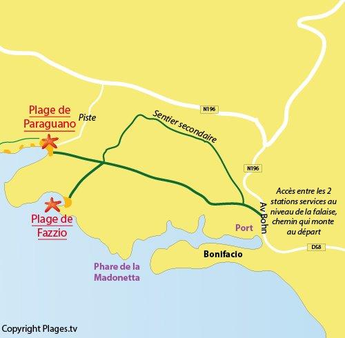 Map of Fazzio Beach in Bonifacio