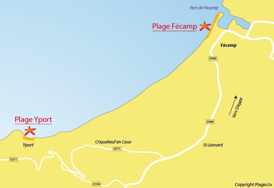 Carte des plages de Fécamp en Normandie