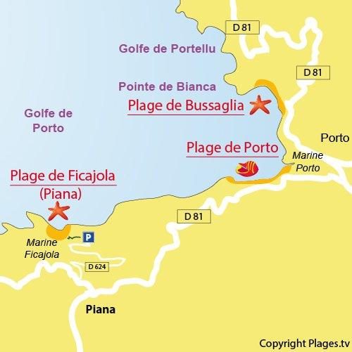 Carte de la plage de Ficajola en Corse (Piana)
