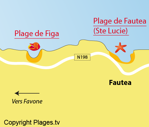 Map of Figa Beach in Corsica