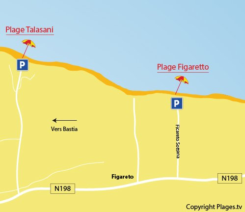 Plan de la plage de Figaretto