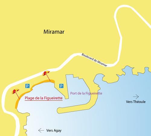 Map of Figueirette Beach in Miramar