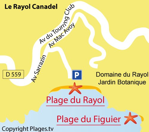 Carte de la plage du Figuier à Rayol Canadel